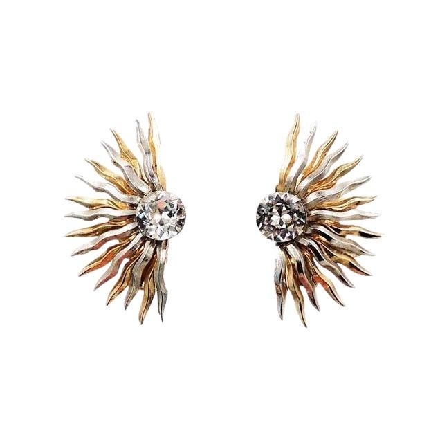 1950s Napier Sunburst Rhinestone Earrings For Sale