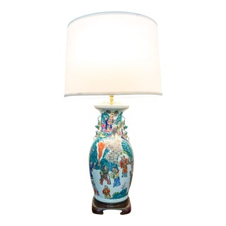 Monumental Chinese Porcelain Lamp For Sale