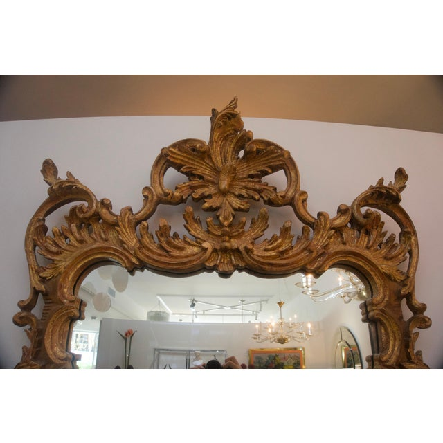 La Barge La Barge Chippendale Rococo Style Carved Wood Wall Mirror For Sale - Image 4 of 6