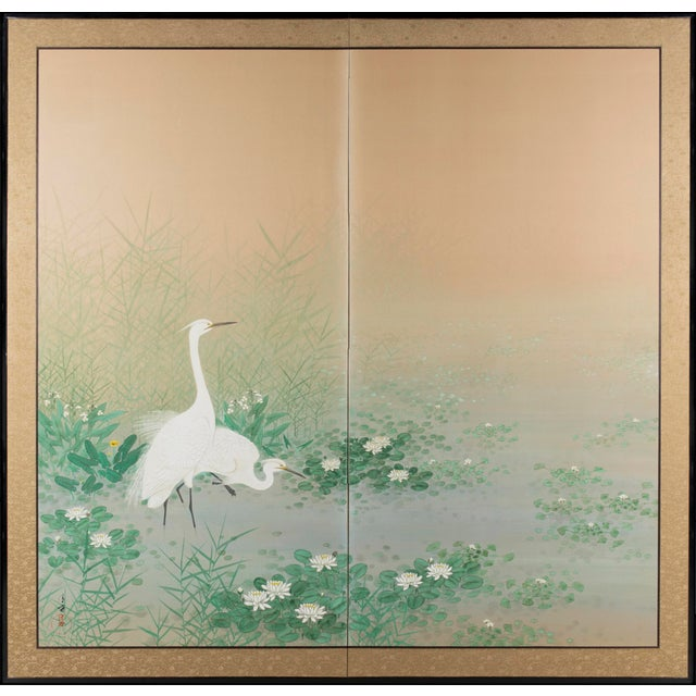 "Early 20th Century ""Egrets Amongst Lotuses"" Byobu Screen For Sale - Image 5 of 5"