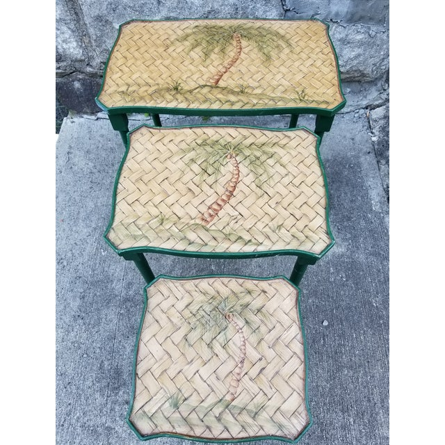 Vintage Cane Wicker & Painted Wood Palm Tree Motif Nesting Table - Set of 3 For Sale In New York - Image 6 of 9