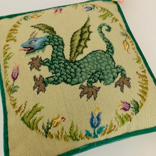 Vintage Ca 1950s Winged Dragon Floral Boxed Needlepoint Pillow With Tassels Preview