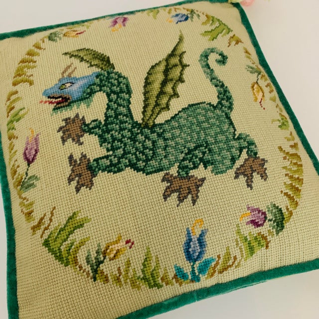 Lovely vintage boxed needlepoint pillow, circa 1950: winged Dragon in a floral pattern medallion, wool tassels, velvet...