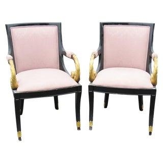 Regency Style Ebonized & Gilt Armchairs - A Pair For Sale