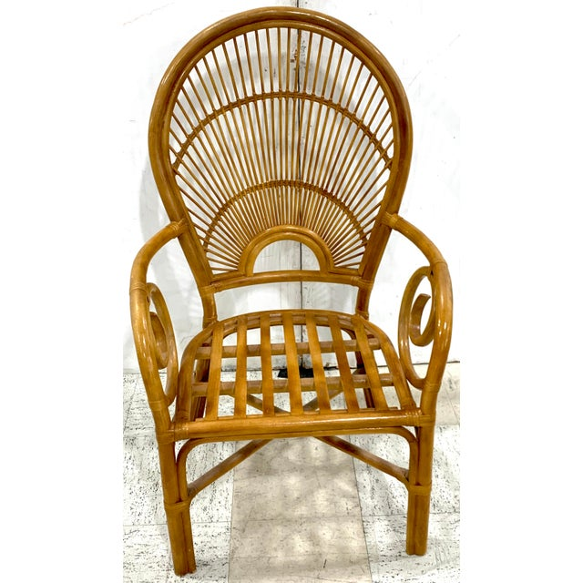 1970s Bamboo & Rattan Back 'Sunrise' Armchairs - a Pair For Sale - Image 9 of 11