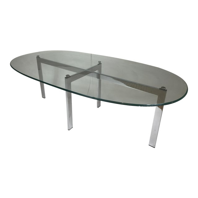 Chrome & Glass Cocktail Table For Sale