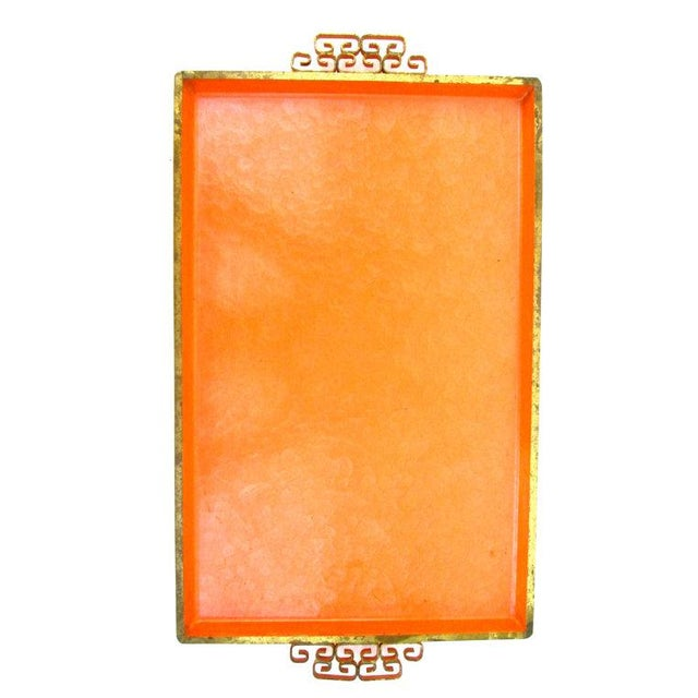 Mid-Century Orange Enamel Moiré Glaze Kyes Tray - Image 3 of 5