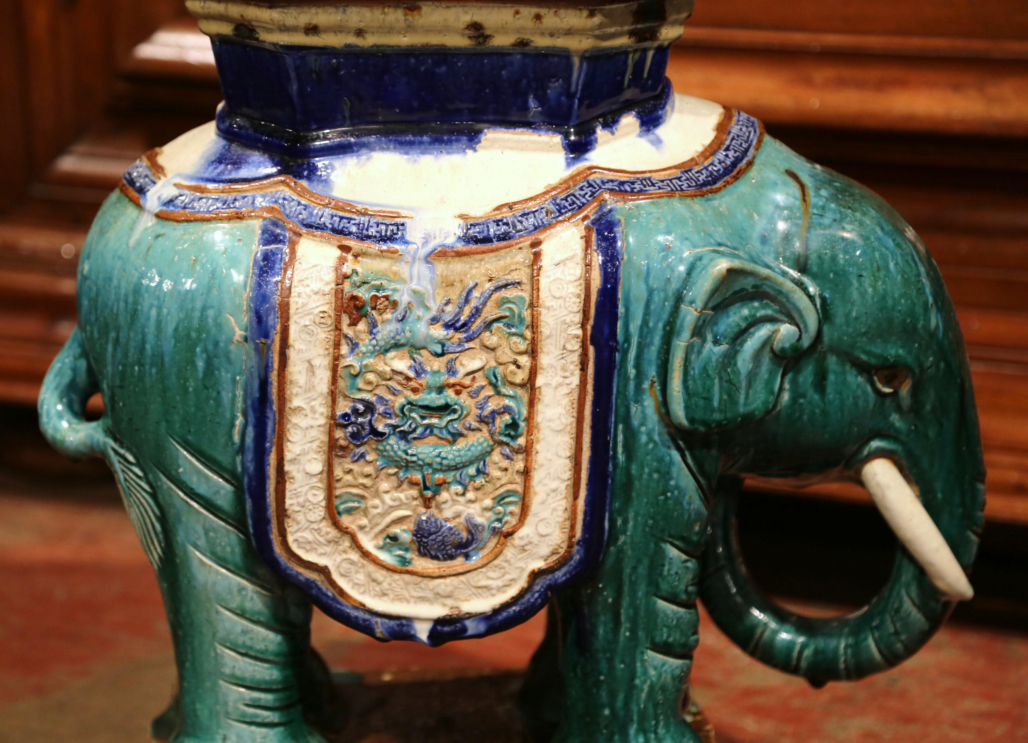 Early 20th Century French Faience Hand Painted Elephant Garden Seat   Image  3 Of 11