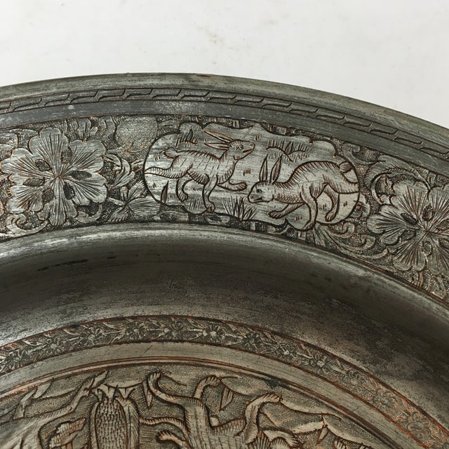 Antique Persian Etched Tinned Copper Plate For Sale In Richmond - Image 6 of 8