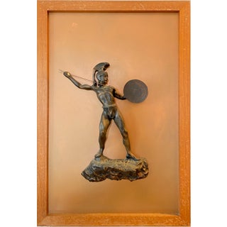 1940s Greek Warrior Copper Framed + Mounted Wall Sculpture For Sale
