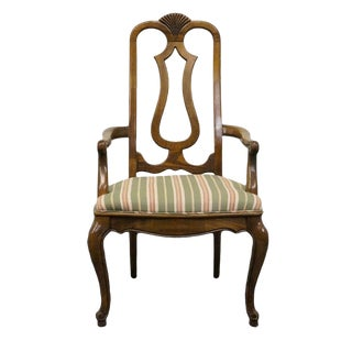 Late 20th Century Vintage Mount Airy Furniture Country French Carved Shell Splat Back Arm Chair For Sale