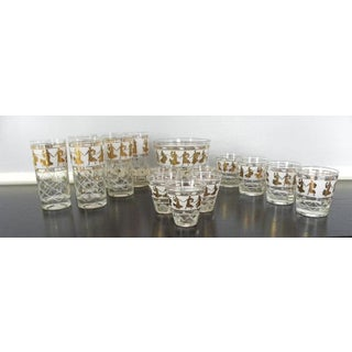 Greek Themed Gold Bar Glasses and Ice Bucket - 16 Pieces Set Preview