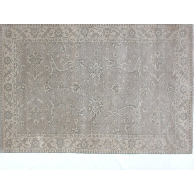 This master piece is a wool pile genuine hand woven vegetable dye Agra carpet in mint condition. Made in the 2010s.