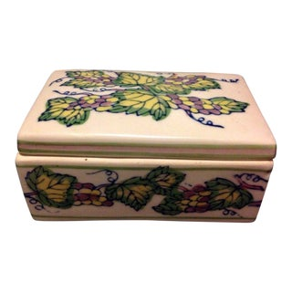 Vintage Grape & Vine Motif Ceramic Trinket Box For Sale
