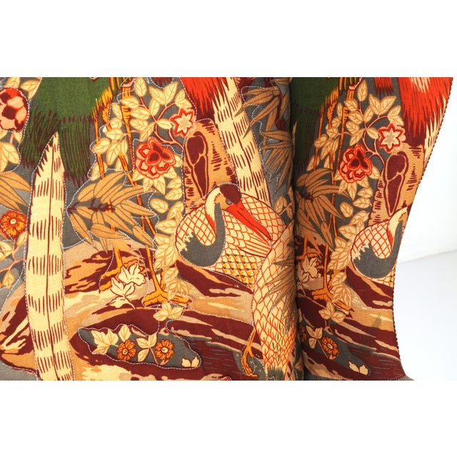 Wingback Chairs in Quilted Peacock Fabric - A Pair For Sale - Image 4 of 9