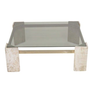 Travertine Smoked Glass Cocktail Table