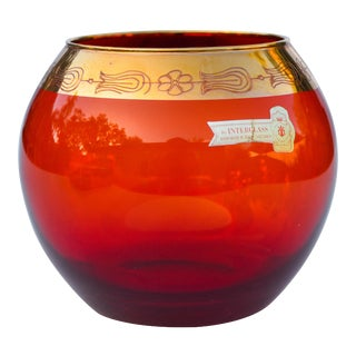 Vintage Red & Gold Glass Centerpiece For Sale