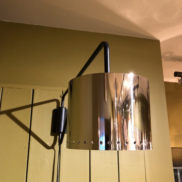 Metal Black & Chrome Shaded Wall Lamp For Sale - Image 7 of 8