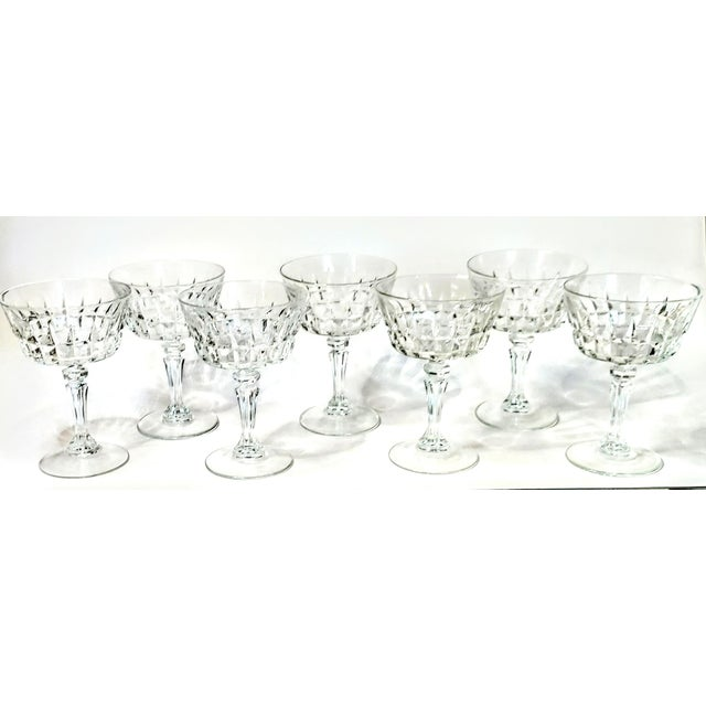 Glass Vintage 40s Cut Crystal Champagne Coupes- Set of 7 For Sale - Image 7 of 7