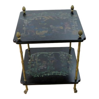 Ebonized Paint Decorated Side Table Attr. Bagues For Sale