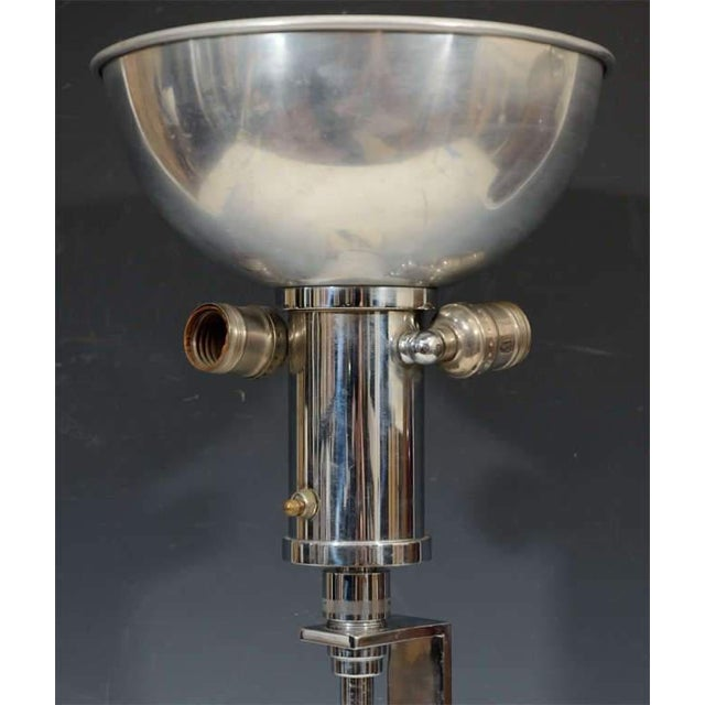 Mutual Sunset Lamp Co. RARE ART DECO NICKEL AND BRASS LAMP BY GILBERT ROHDE For Sale - Image 4 of 6
