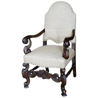 19th Century French Walnut Louis XIV Armchair For Sale