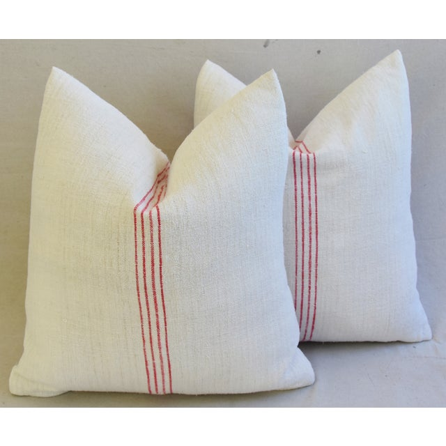 French Country Red Striped Gain Sack Pillows - Pair For Sale - Image 9 of 11