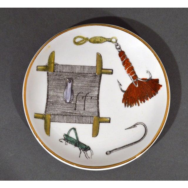 1960s Piero Fornasetti La Pesca Fishing Lures Coaster Set With Original Box For Sale - Image 5 of 13