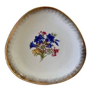 Vintage Cottier Freres Floral and Gold Decorative Dish/Plate, Switzerland For Sale