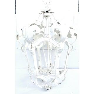 Vintage Mid-Century Venetian Tole Style Iron 3-Light Hanging Lantern Light Preview