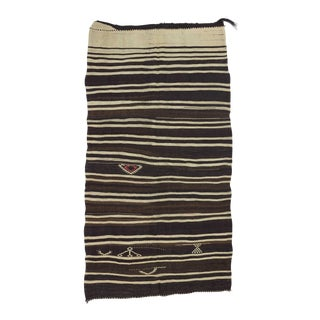 "Vintage Black Brown White Striped Kilim Rug - 5'3"" x 10' For Sale"