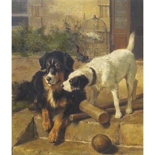 Best of Friends' Carl Sutherland Antique Dog Oil Painting For Sale