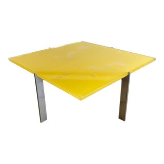 Vintage Modern Pae White and Dan Knapp Yellow Coffee Table For Sale