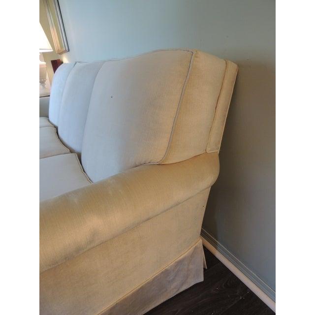 Mid-Century Modern Vintage Long Three Cushion Velvet Upholstered Sofa For Sale - Image 3 of 11