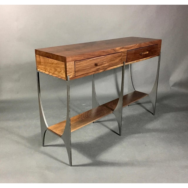 Richard Vellosso Walnut & Steel Console Table, Usa For Sale - Image 13 of 13