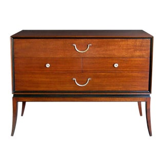 An Extremely Good Quality Tommi Parzinger Designed for Charak Modern Mid-Century Mahogany 4-Drawer Cabinet/Chest With Ebonized Highlights For Sale