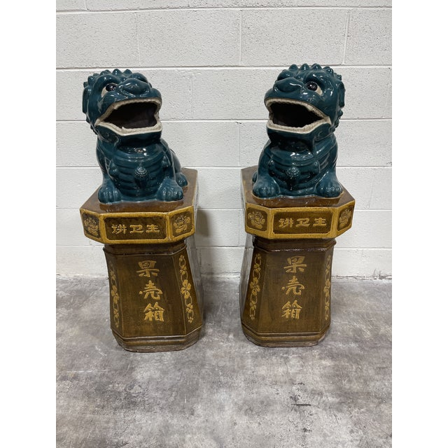 Monumental Glazed Terracotta Foo Dogs - a Pair For Sale - Image 13 of 13