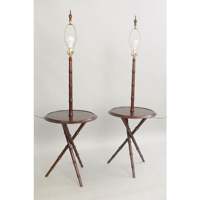 Pair of Chinese Chippendale Faux Bamboo Floor Lamp End Tables Tripod Wood Vintage For Sale - Image 4 of 11