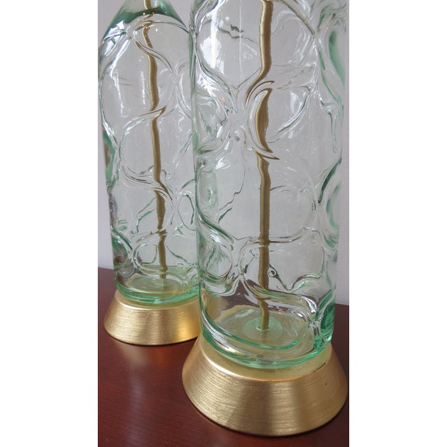 Modern Green Blown Glass Lamps - A Pair - Image 6 of 9