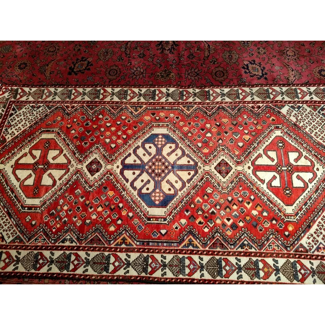 Country 1960s Vintage Persian Shiraz Tribal Carpet - 5′ × 9′8″ For Sale - Image 3 of 10