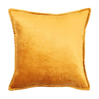 Contemporary Tr Essentials Orange Velvet Pillow - 17x17 For Sale