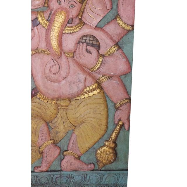 Anglo-Indian Vintage Ganesha Good Luck Sculpture Carved Panel Door For Sale - Image 3 of 5