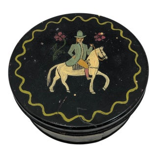 Early 20th Century Antique Hand-Painted Woman on Horse Round Tin Box For Sale