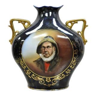 Antique German Blue Twin Handled Portrait Vase of Sailor Man Smoking Pipe For Sale