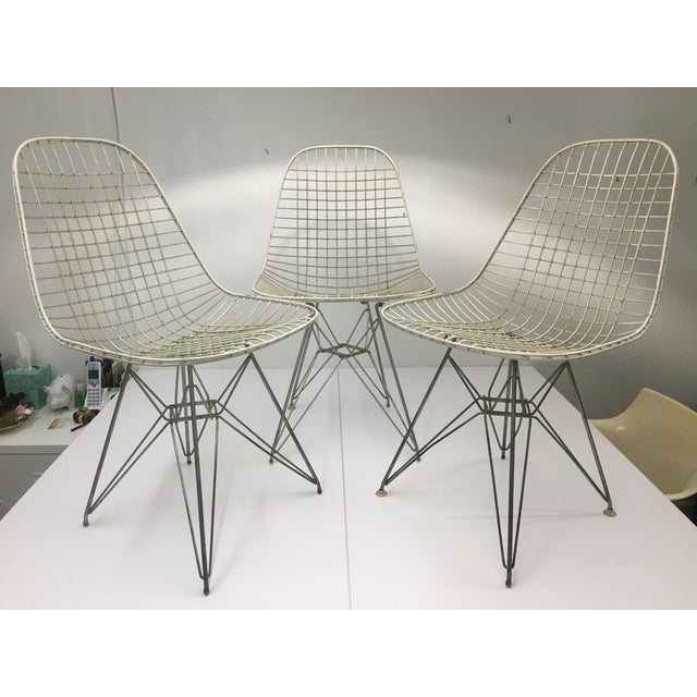 This set of 3 classically authentic, original eiffel-based wire side chairs are structurally sturdy, they're just in need...