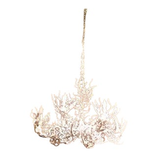 1970s Vintage White Iron Coral Chandelier For Sale
