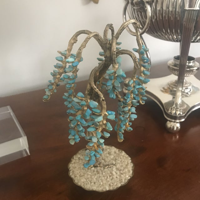 Turquoise & Brass Jewel Tree Figurine - Image 10 of 10