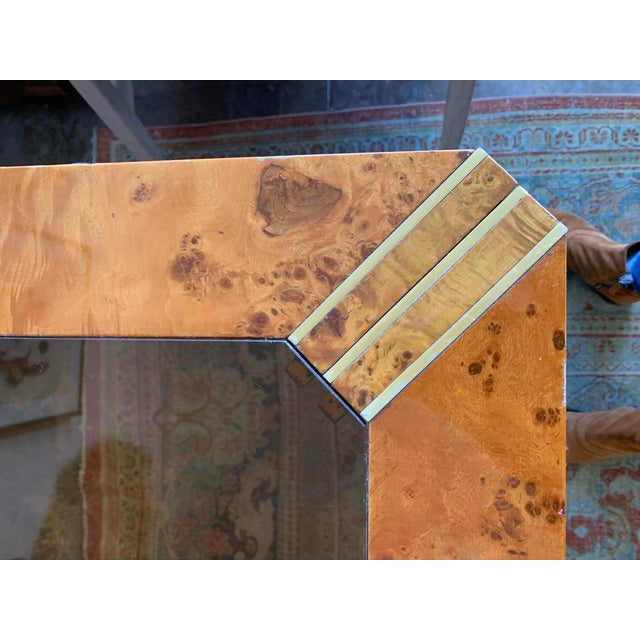 1970s 1970s Vintage Burlwood and Glass Dining Table For Sale - Image 5 of 13