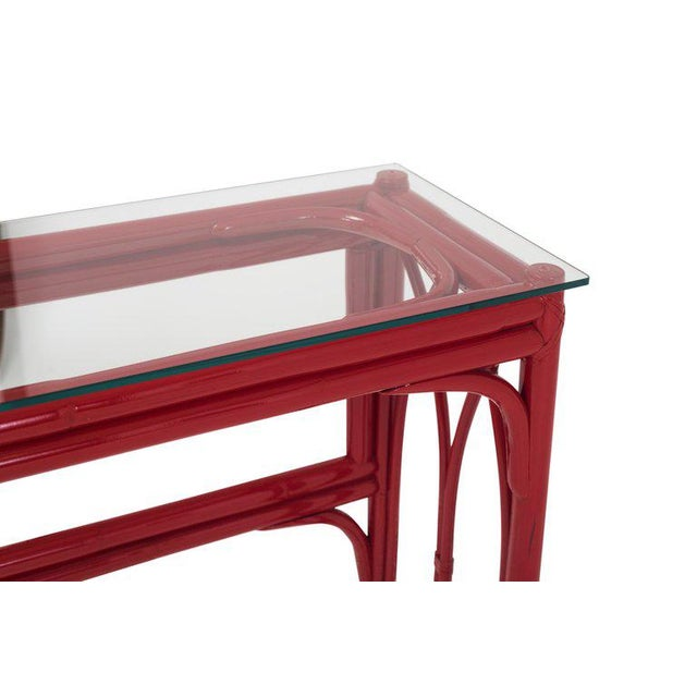 Vanity Table With Large Mirror in Red Lacquered Bamboo For Sale - Image 10 of 13