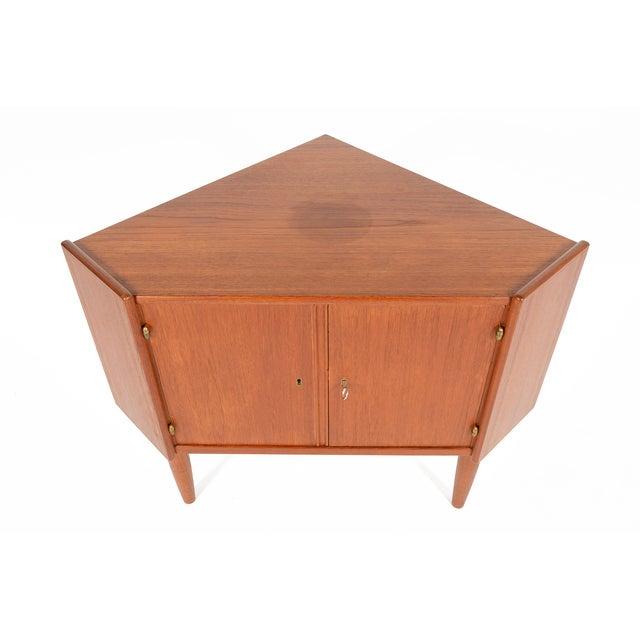 Danish Modern Low Teak Corner Cabinet - Image 3 of 8